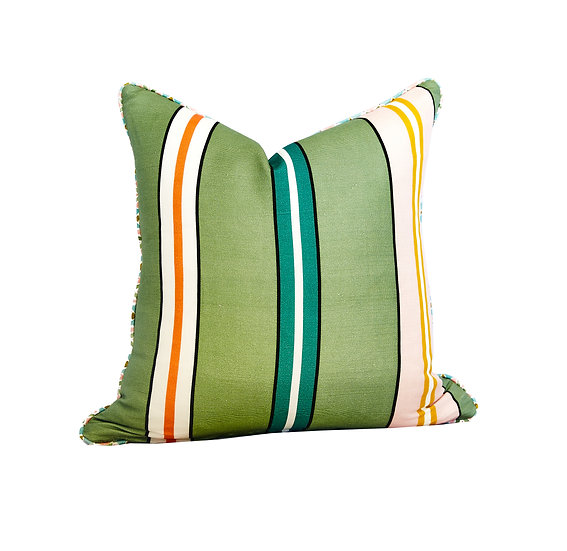 Flora Sea Mist and Multi Stripe Scatter Cushion