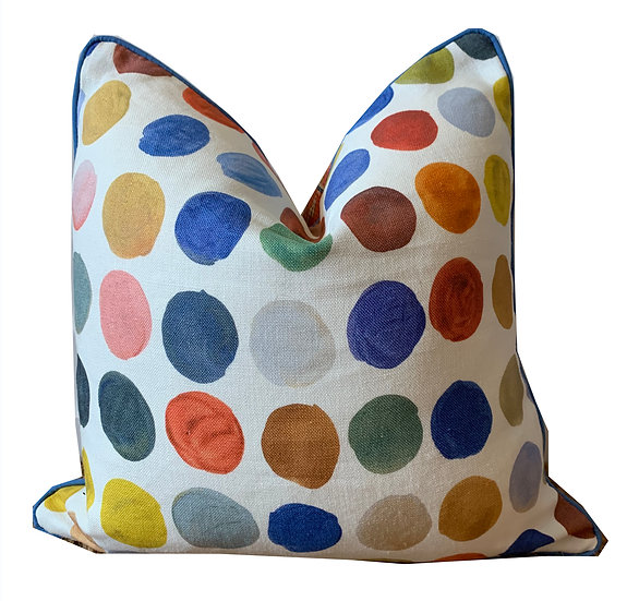 Multi-coloured Geometric and Spot Scatter Cushion