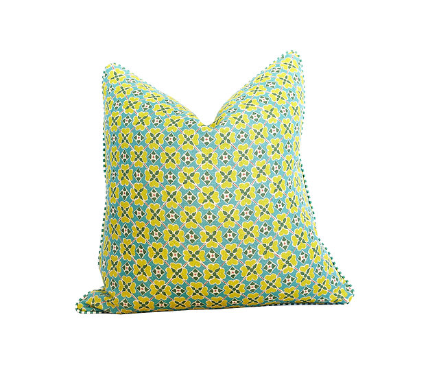 Flora Zing and Green Stripe Scatter Cushion