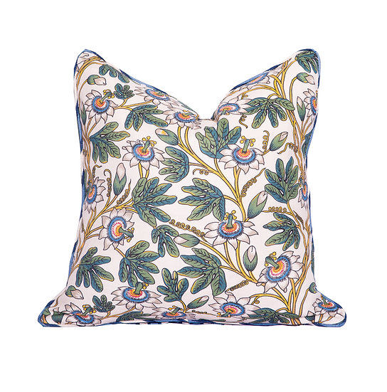 Floral and Ink Blue Stripe Scatter Cushion