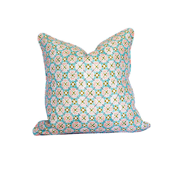 Flora Sea Mist and Check Scatter Cushion