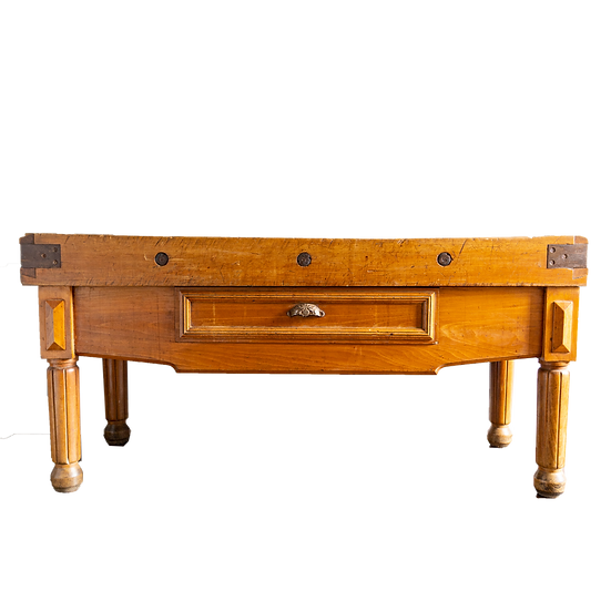 Old Solid Timber Butchers Block with Central Drawer