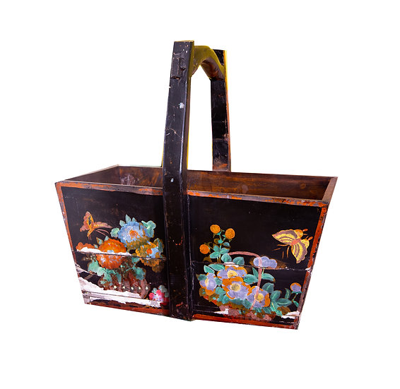 Hand-painted Decorative Timber Basket