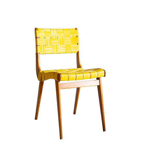 Timber Mid-century Side Chair with Yellow Woven Seat and Back
