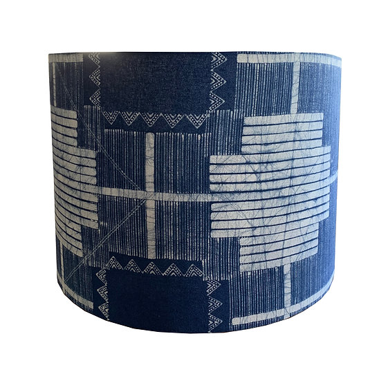 Indigo Blue and White Drum Shade