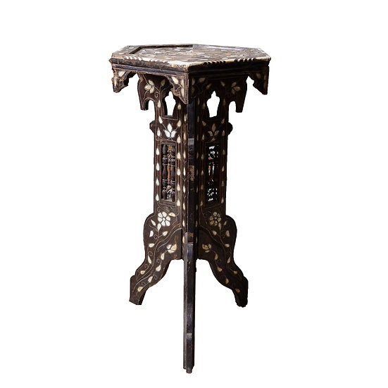 Decorative Pearl Inlaid Hexagonal Side Table