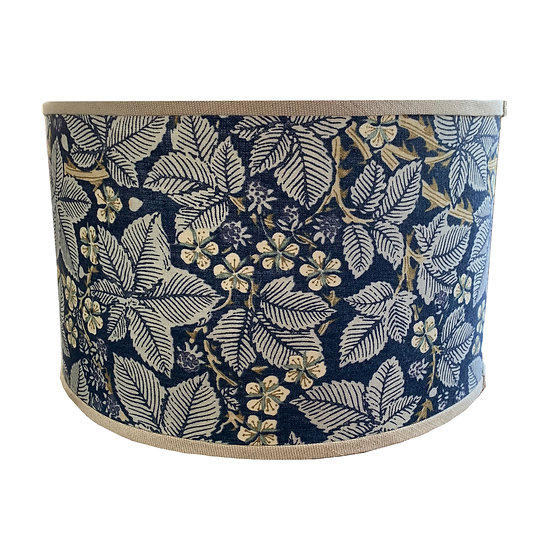 Navy and Taupe Floral Drum Shade