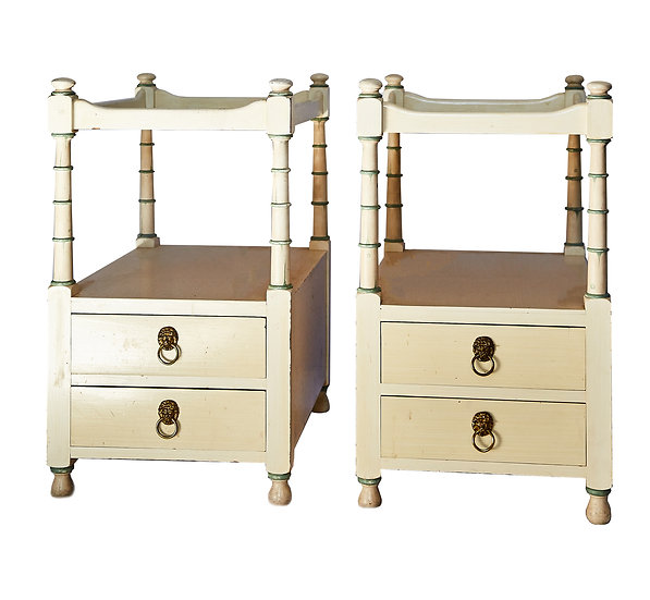 Pair of Cream Hand-painted Vintage Bedside Tables