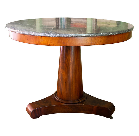 Antique French Empire Style Circular Pedestal Table with Marble Top