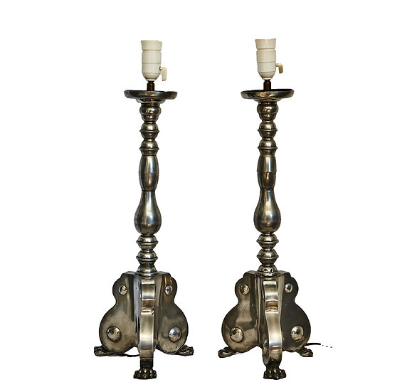 A Pair of Antique Baroque Pewter Lamp Bases