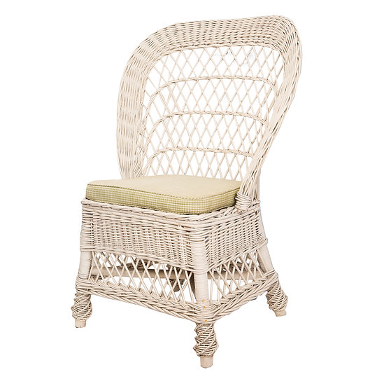 Vintage White Cane Side Chair