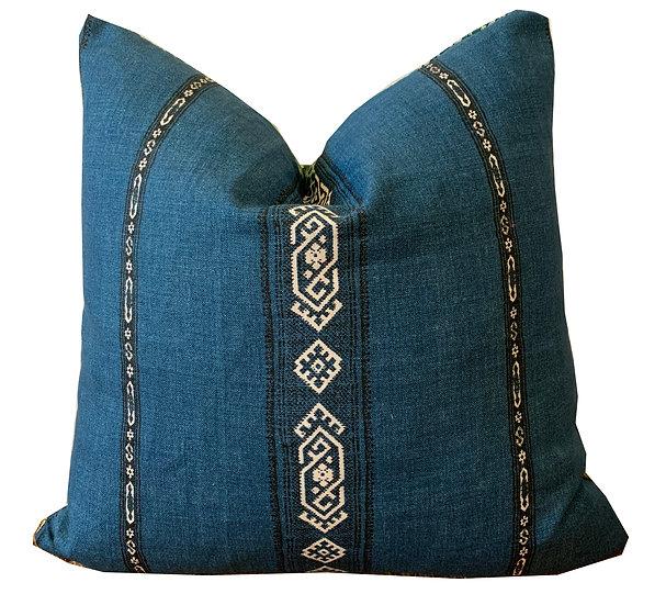 Blue Aztec Stripe & Green Spot Scatter Cushion