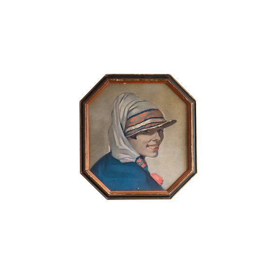 Vintage Lady Artwork in Octagonal Frame