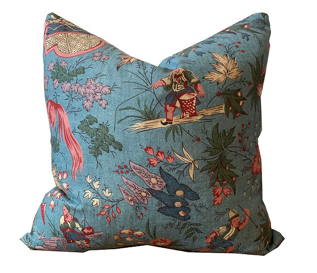 Chinoiserie Floral and Leopard Scatter Cushion
