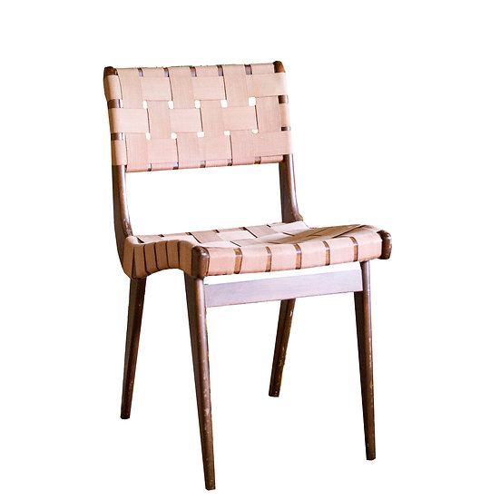 Timber Mid-century Side Chair with Pink Woven Seat and Back