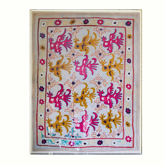 Antique Suzani Textile in Perspex Box
