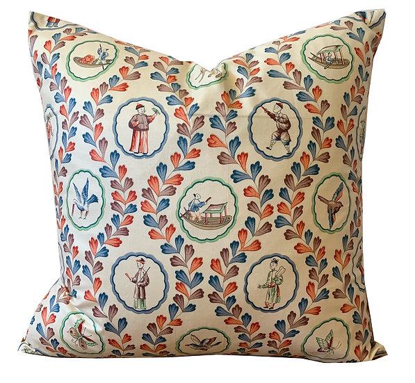 Vintage Floral & Coral Flower Cutout Scatter Cushion