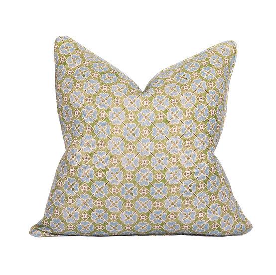 Flora Meadow & Pale Blue Pinstripe Scatter Cushion