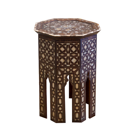 Octagonal Mother of Pearl Inlaid Side Table