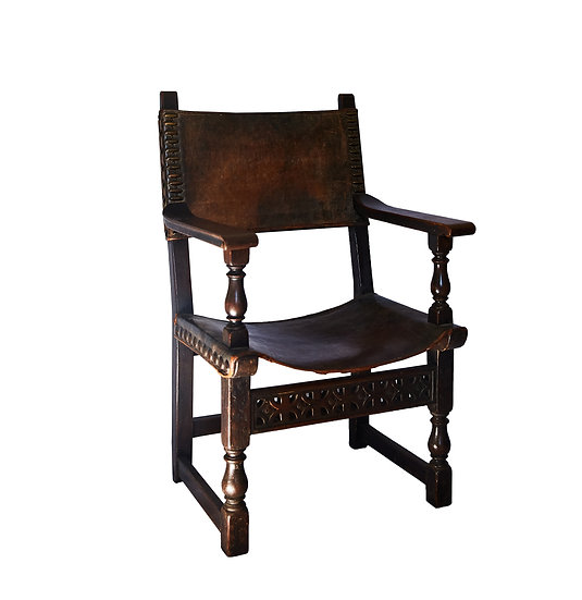 French Renaissance Oak and Leather Armchair