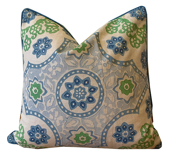 Blue Floral Geometric Scatter Cushions