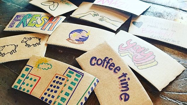 Happy coffee sleeves.