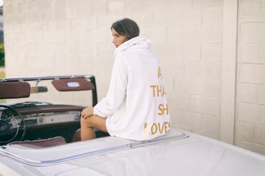 Hoodie Sweatshirt Oversize Felpa Gold White