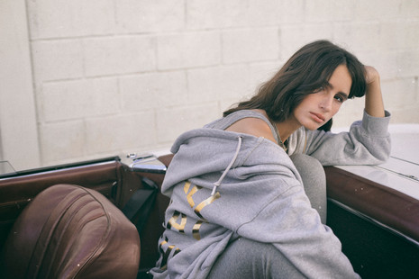 Hoodie Sweatshirt Oversize Felpa Gold Grey