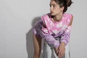 Shoulder Sweatshirt Felpa Bicolor Pink Lavanda