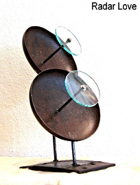 """July / August 2009 Glass comes from reactor chamber of a chromospectograph. Dish pieces are the ends of an air compressor tank. 25"""" x 20"""" x 18"""" approx. 35 lbs."""