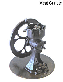 """January 2011 Old meat grinder, miniature RR spikes 13.5"""" base diameter x 16.5"""" height 29 lbs."""