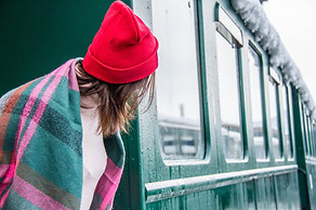 Red Hat Girl on a Train