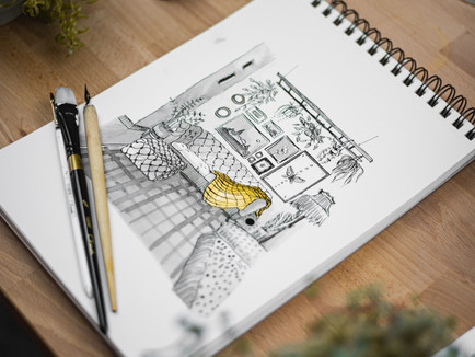 Create a picture of your home with a dip pen and India ink