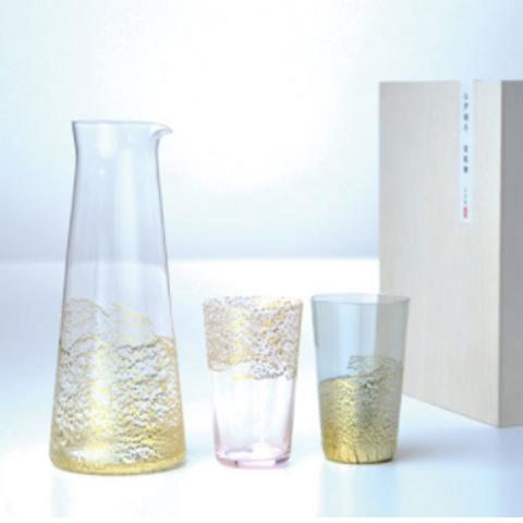 江户硝子 金玻璃 Sake Set