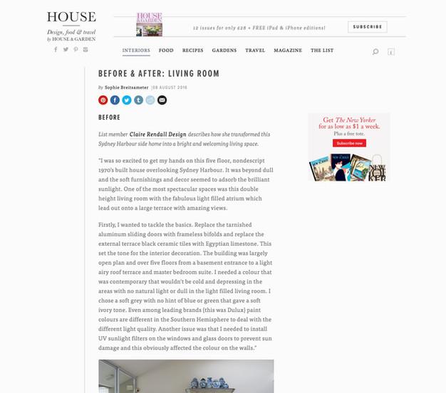 Claire rendall interior design House and Garden