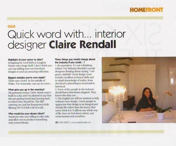 Claire rendall interior design Home Front Magazine