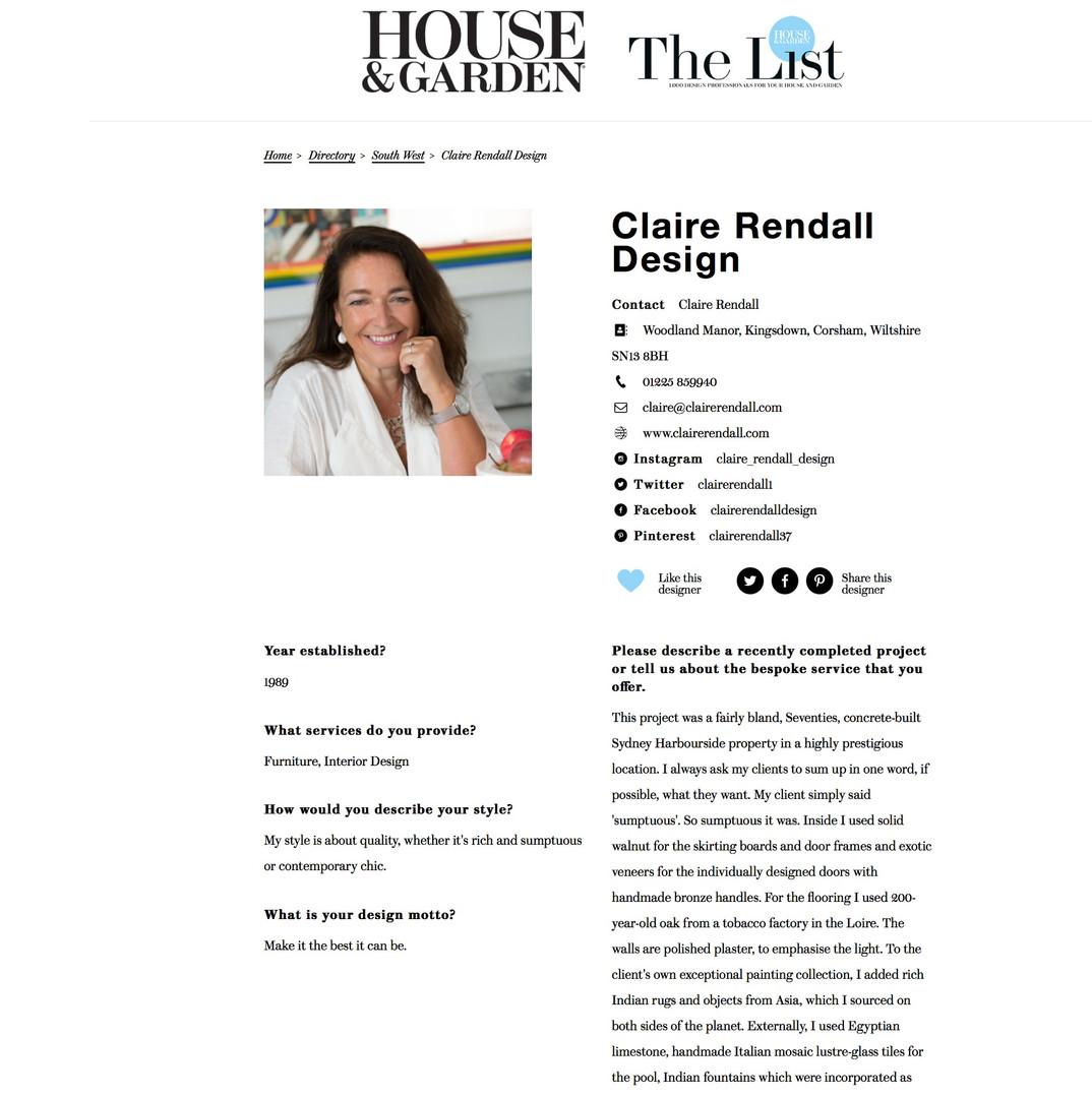 House & Garden - The List Claire rendall interior design