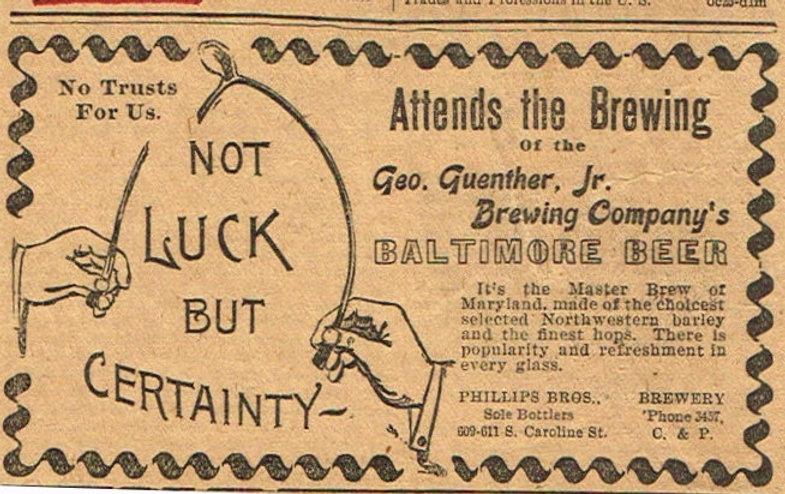 Baltimore-Beer-Paper-Ads-Geo-Gunther-Jr-