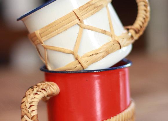 Enamel Mug with Rattan Handle