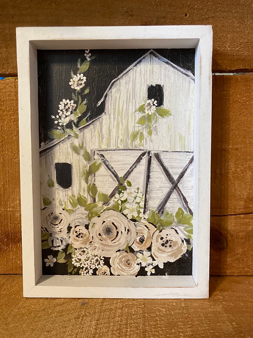 "8"" x 5.75"" Floral Barn Wood Framed Picture"