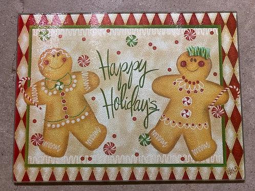 Gingerbread Christmas Glass Cutting Board
