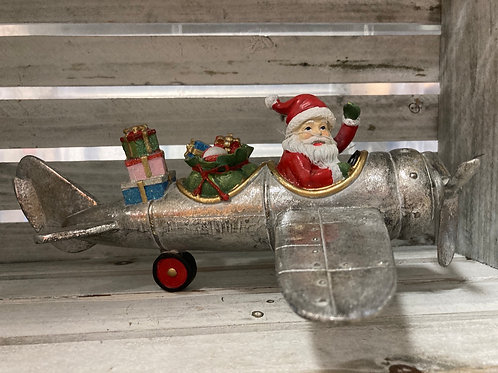 Santa in Airplane Figurine
