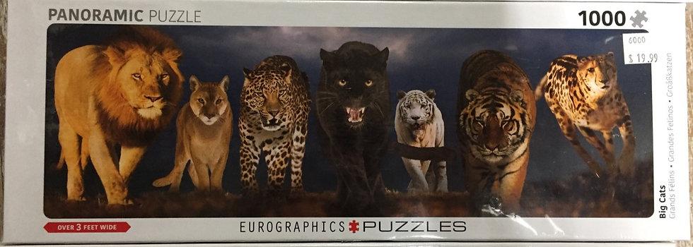Big Cats - 1000 Piece Panoramic Puzzle