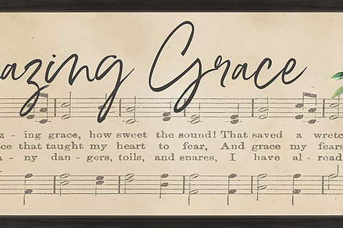 "43.5"" x 16.75"" ""Amazing Grace"" Wood Framed Sign by P.Graham Dunn"
