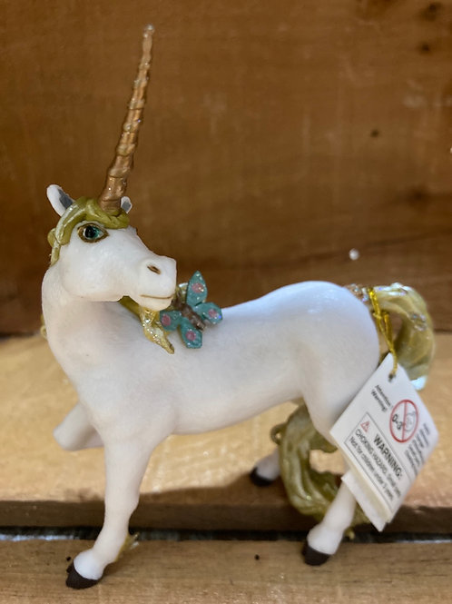 """4.5"""" x 4"""" Plastic Unicorn with Blue Butterfly Toy"""