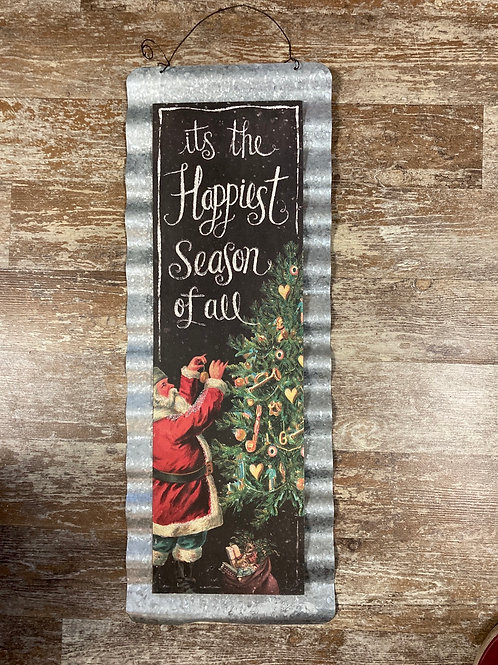 """""""The Happiest Season of All"""" with Santa 24"""" x 8.75"""" Wood and Metal Sign"""