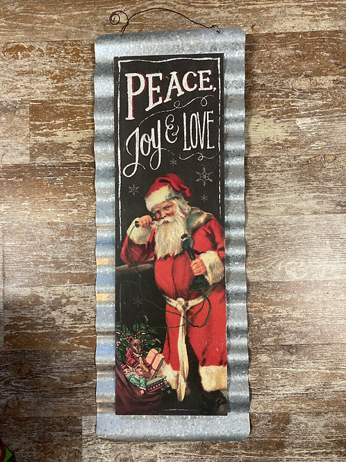 """""""Peace Love and Joy"""" with Santa 24"""" x 8.75"""" Wood and Metal Sign"""