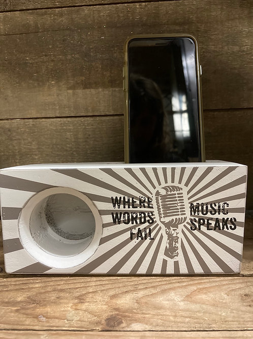 """""""Where Words Fail, Music Speaks"""" Wooden Smartphone Amplifier by Young's Inc"""