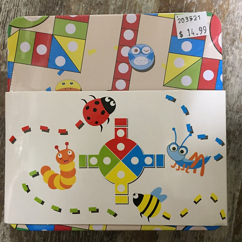 Wooden Tic Tac Toe and Ludo in Tin