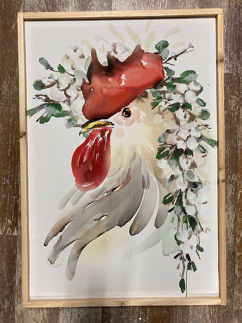 Wood Framed Canvas Chicken Picture